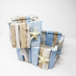 Coppia di porta vasi marini in legno bianco e azzurro