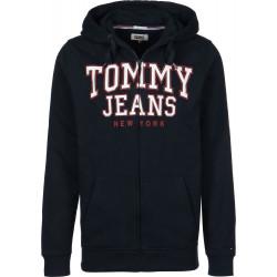 Felpa TOMMY HILFIGER JEANS blu con zip, cappuccio e scritta rossa e bianca