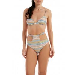 Bikini a tringolo MEFUI sui toni del beige rosa e bianco lurex