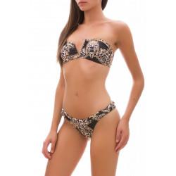 """Bikini fascia con """"V"""" F**K in fantasia maculata nero e marrone"""