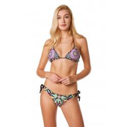 Bikini triangolo 4GIVENESS in fantasia sui toni del nero bianco rosa e verde