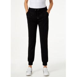 Pantaloni LIU-JO sport nero in jersey con borchie nere applicate sul davanti