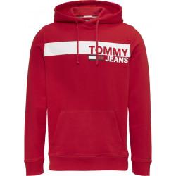 Felpa TOMMY HILFIGER rossa con cappuccio e logo bianco frontale