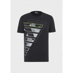 T-shirt uomo EA7 mezza manica giro collo nera con logo frontale stamoato