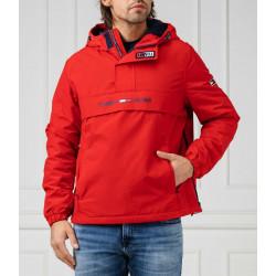 Giacca uomo TOMMY HILFIGER rossa con cappuccio, mezza zip e tasca frontale