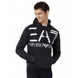 Felpa EA7 nera con logo frontale bianco, senza zip con cappuccio