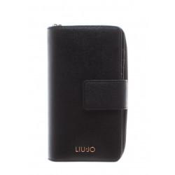 Portafoglio LIU-JO nero con doppia apertura e piccolo logo oro.