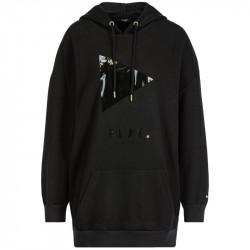 Felpa LIU-JO nera 3/4 vestibilità over, con cappuccio senza zip