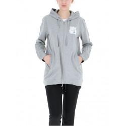 Felpa LIU-JO grigio chiaro lunghezza 3/4 con cappuccio e zip intera