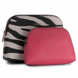 Pochette beauty doppio LIU-JO , esterno zebrato , interno fuxia