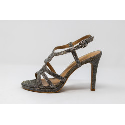 Scarpe donna nere sandalo gioiello con tacco ALMA EN PENA V20161