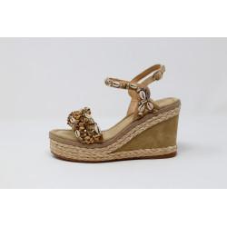 Scarpe donna sabbia sandalo gioiello con zeppa ALMA EN PENA V20307