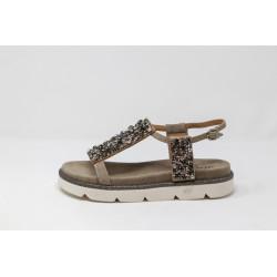Sandalo donna grigio gioiello scarpe senza tacco ALMA EN PENA V20445