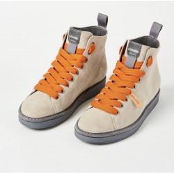 Scarpe polacchini PANCHIC beige laccio arancio con pelliccia interna. P01W14002S6 col. A17021
