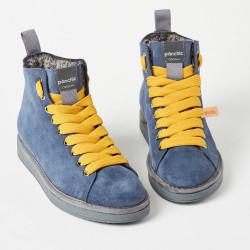 Scarpe polacchini PANCHIC  blu, laccio giallo con pelliccia interna. P01W14002S6 col. A17028