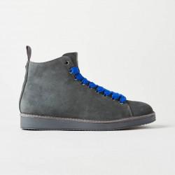 PANCHIC scarpe uomo polacchino P01M grigio antracite scamosciate stringhe blu