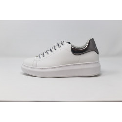 GAELLE Sneakers donna bianche con profilo argento in eco pelle