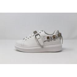 GAELLE Sneakers donna ecopelle bianche con pietre e lacci bianchi