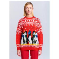 VICOLO maglia donna con fantasia ricamata e pinguini su base rossa, mista lana