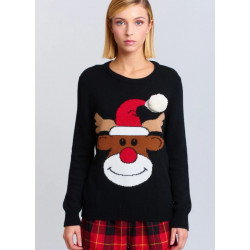 VICOLO maglia donna nera con ricamo renna e pon pon, misto lana