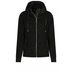 LIU-JO giacca nera in maglia e paiettes TF0172 J6084, cappuccio staccabile