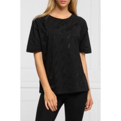 LIU-JO t-shirt nera in cotone giro collo, piccoli loghi con strass. TF0091 J5923