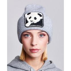 VICOLO KNITWEAR cappello donna grigio chiaro ricamo panda misto lana cashmere