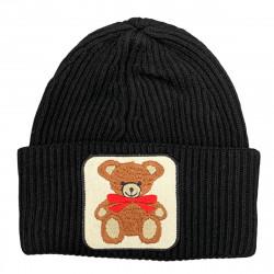 VICOLO KNITWEAR cappello donna nero ricamo orso misto lana e cashmere