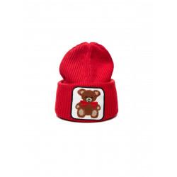 VICOLO KNITWEAR cappello donna rosso ricamo orso misto lana e cashmere