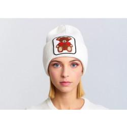 VICOLO KNITWEAR cappello donna bianco ricamo orso misto lana e cashmere