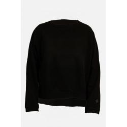MY T-SHIRT felpa donna girocollo nera vestibilità over in cotone