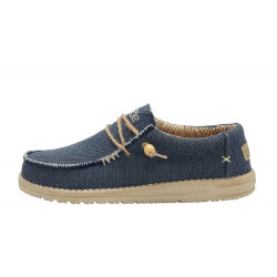 HEY DUDE scarpe uomo WALLY BRAIDED blue night in tela traspiranti suola sughero