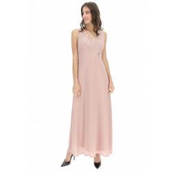 RINASCIMENTO abito lungo CFC0100594003 rosa antico smanicato corpetto in pizzo