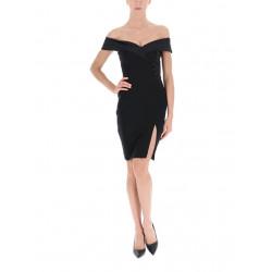 RINASCIMENTO abito tubino CFC0017488002 nero scollo barchetta vestibilità aderente