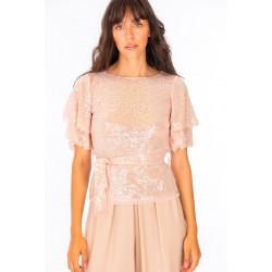 NO-NA' t-shirt A0248T75 rosa cipria mezza manica giro collo tulle e paillettes