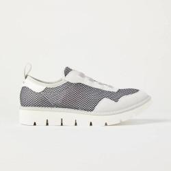 PANCHIC scarpe donna slip on P05W14006NS8 grigio chiaro nero lacci elasticizzati