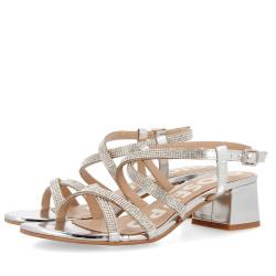 GIOSEPPO scarpe donna BRANTLEY pelle silver con tacco e dettagli in swarovsky