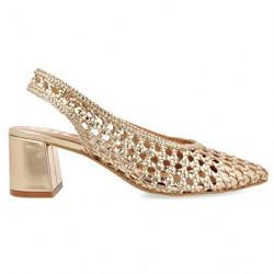GIOSEPPO scarpe donna CANADICE pelle oro intrecciate ballerine con tacco