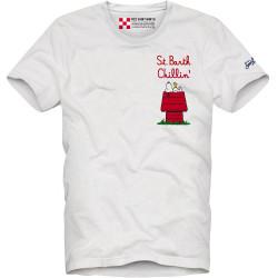 SAINT BARTH t-shirt uomo MANDISE SNOOPY bianco cotone maniche corte girocollo