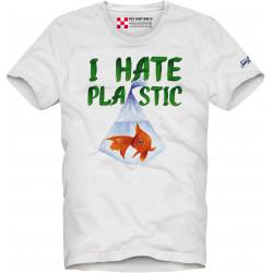 SAINT BARTH t-shirt uomo PLASTIC FISH bianco cotone maniche corte girocollo