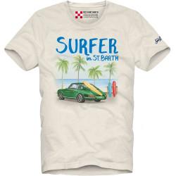 SAINT BARTH t-shirt uomo CAR SEA bianco cotone maniche corte girocollo