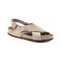BIRKENSTOCK sandalo donna TULUM taupe camoscio intrecciato regolabile