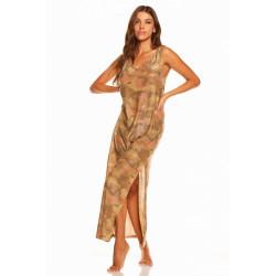 Cote D'Azur vestito donna CAMOUFLAGE lurex lungo con spacco 0563