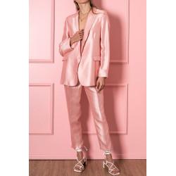 VICOLO completo donna SATINATO rosa blazer over size pantalone morbido