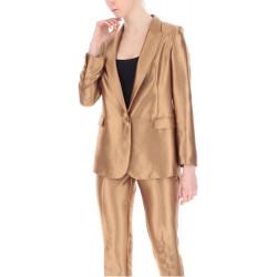 VICOLO completo donna SATINATO marrone blazer over size pantalone morbido