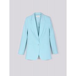 VICOLO giacca donna BLAZER azzurro lungo collo revers un bottone