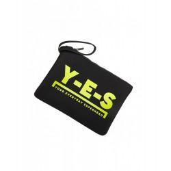 Y-E-S pochette donna mare nera logo yes giallo fluo morbida