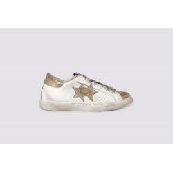 2STAR scarpe donna LOW donna pelle bianca con dettagli in oro